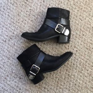 Shoes - Vince Camuto leather buckle boots.